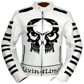 blouson veste moto en cuir Biker chopper Rocker blanc