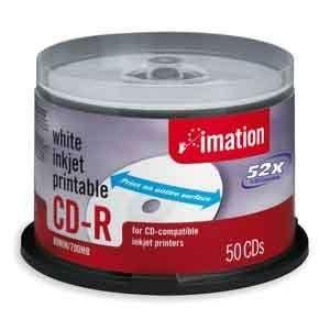 IMATION Disc, CD R 80 min, WHT IJ HUB printable, 52X, 50