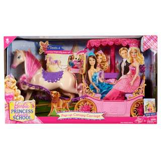 Barbie Princess Charm School Pop Up Canopy Carriage Horse and Carriage