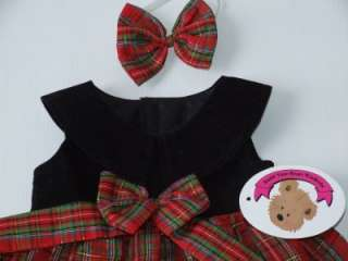 Tartan Christmas Dress set clothes fit 15 Build a Bear