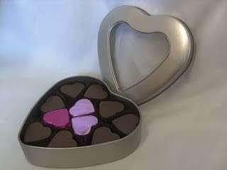 romantic heart shaped tin of chocolates by chocolala