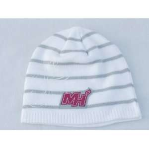 MIAMI HEAT NBA WHITE WITH GRAY STRIPES LOGO SOFT KNIT BEANIE HAT/CAP
