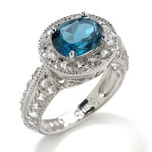 34ct London Blue Topaz and White Topaz Sterling Silver Vintage