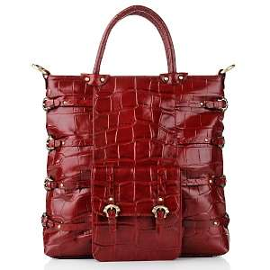 Michael Rome Croco Embossed Leather Large Tote