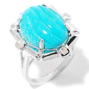 Heritage Gems Carved Sleeping Beauty Turquoise and Diamond Sterling