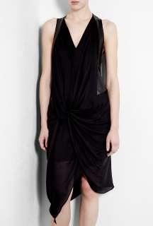 Helmut Lang  Leather Panel Drape Jersey Dress by Helmut Lang