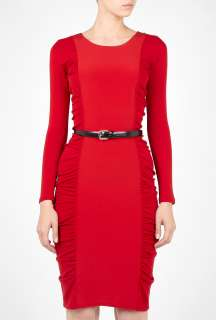 Sportmax  Red Ragazza Belted Silk Jersey Panelled Dress by Sportmax