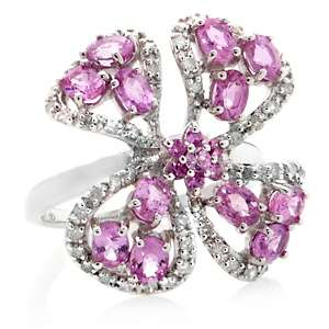 65ct Pink Sapphire and White Diamond Sterling Silver Flower Ring