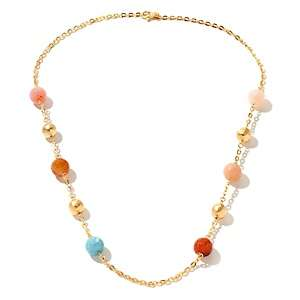 Milena Multicolor Agate Yellow Bronze 28 Station Necklace