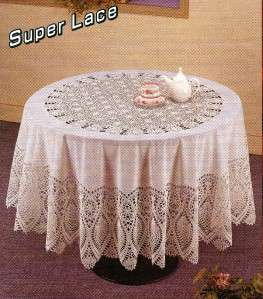 VINYL LACE Luxury Crochet Round White TABLE CLOTH 63