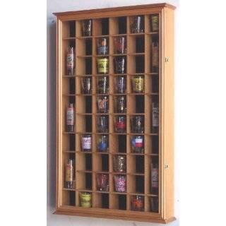 54 Shot Glass Shooter Display Case Holder Cabinet Wall Rack w/ UV