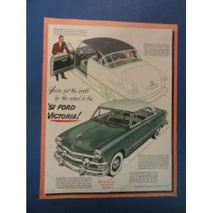 1951 Ford Victoria! Print Ad. man with door open inviting