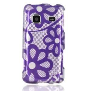 Hard Snap on Plastic With PURPLE LACE FLOWERS Design Faceplate Cover