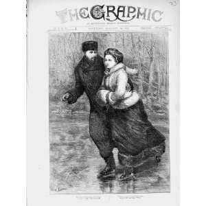 1874 Ice Skating Man Woman Romance Winter Old Print