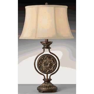 Antique Bronze with Soft Gold Hallmark Table Lamp with Cream Shade