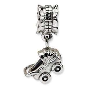 Silver Baby Carriage Dangle Bead Charm Reflection Beads Jewelry