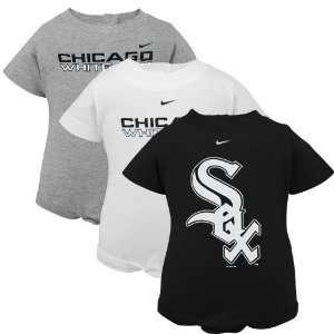 Nike Chicago White Sox Infant Black, White & Ash 3 Pack Romper Set