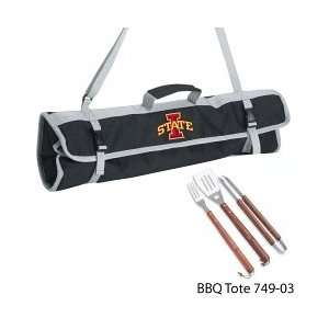 Iowa State Printed 3 Piece BBQ Tote BBQ set Black: Home & Kitchen