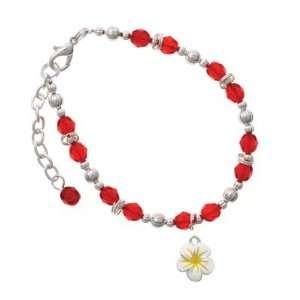 Yellow Flower Red Czech Glass Beaded Charm Bracelet [Jewelry] Jewelry