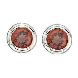 Simply Delightful Bezel Set Round Red Garnet Birthstone Stud Earrings