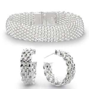 Bling Jewelry Sterling Silver Mesh Bracelet & Mini Hoop Earrings Set