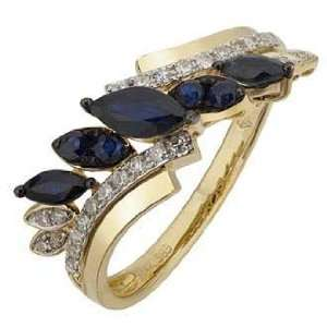 14K Yellow Gold Blue Sapphire Diamond Ring (G I color) Jewelry
