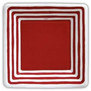 Stripe Border Red 7 inch Square Paper Plate  Kitchen