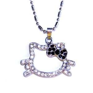 Petite Kitty Charm Necklace with Black Bow Jewelry
