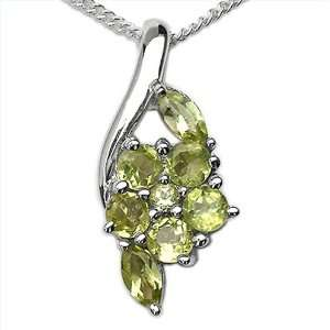 Peridot Gemstone Rhodium Plated Sterling Silver Pendant Necklace