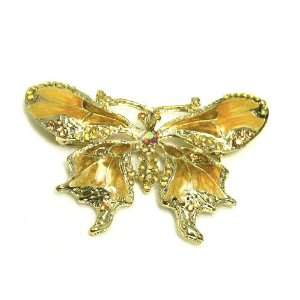 Rhinestone Color Enamel Butterfly Gold Plated Brooch Pin Jewelry