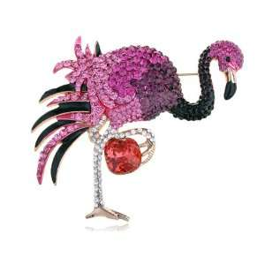 Rose Swarovski Crystal Rhinestone Element Flamingo Pin Brooch Jewelry