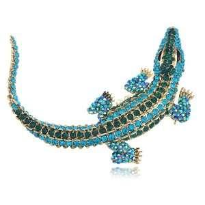 Tone Blue Zircon Crystal Rhinestone Friendly Aqua Crocodile Pin Brooch