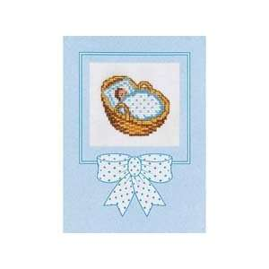 Boy in Basket Counted Cross Stitch Card Kit Arts, Crafts & Sewing