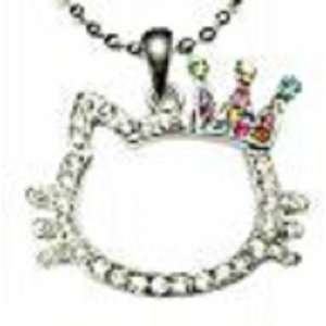 HELLO KITTY OUTLINE CROWN KITTY CHARM NECKLACE WITH