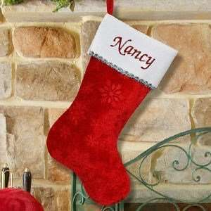 Embroidered Snowflake Red Christmas Stocking