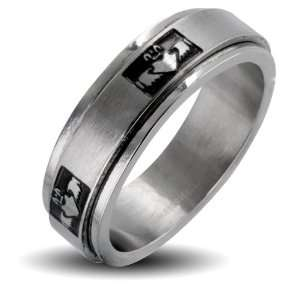 Stainless Steel Claddagh Crowned Holding Heart Center Spinner Ring