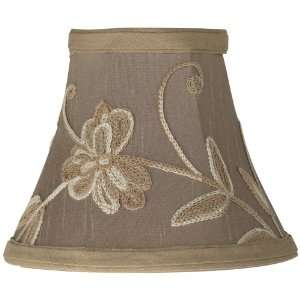 Tan Floral Embroidered Mini Shade 3x6x5 (Clip On)