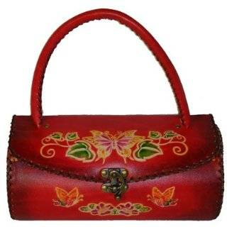 Unique Designs Real Leather Handbag, Circular Tube Shaped, Butterfly