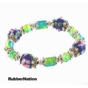 Glass & Silver Bali Bead Bracelet BLUE GRN 12 Arts, Crafts & Sewing