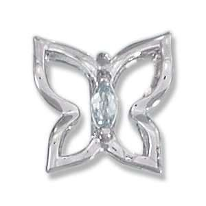 Sterling Silver Pale Blue Cubic Zirconia Butterfly Pendant Jewelry