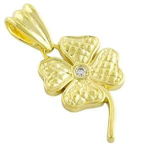 Clear Cubic Zirconia 14kt Gold Plated Lovely Flower Pendant Jewelry