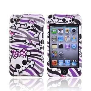 SKULLS PURPLE ZEBRA for Apple iPod Touch 4 hard Case Electronics
