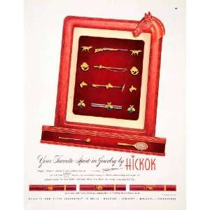 1950 Ad Hickok Mens Jewelry Sport Tie Bar Cuff Link Belt