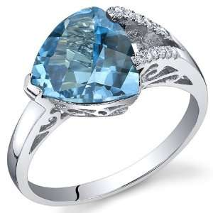 Color 2.50 Carats Trillion Checkerboard Cut Swiss Blue Topaz Ring
