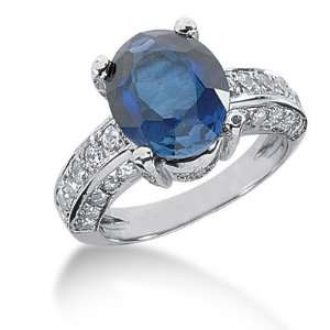 7.5 Ct Diamond Sapphire Ring Engagement Oval cut 14k White