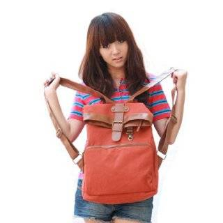 Red korea style canvas leather shoulder school bag backpack B010008
