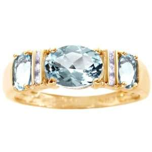 Stone Oval Gemstone and Diamond Anniversary Ring Aquamarine, size6