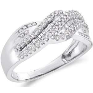 Diamond Band 14k White Gold Anniversary Ring Bridal (1/2 Carat), Size