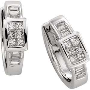 14K White Gold Diamond Hinged Earrings