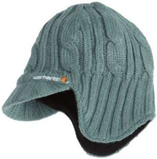Carhartt Womens Cable Knit Ear Flap Hat With Visor,Blue